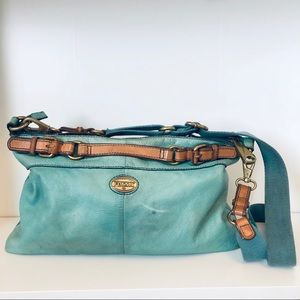 Fossil Leather Bag in blue/green